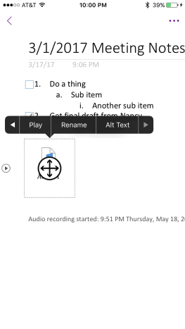 Tap the audio file icon, and then tap the play icon to begin playing the audio file.