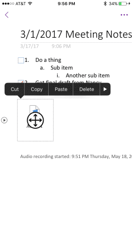 """Tap the audio file, and then tap """"Delete."""""""