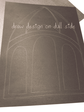 design drawn on back with yellow pencil