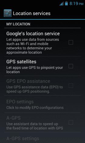GPS settings