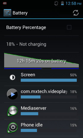 Battery usage during the entire video playback test