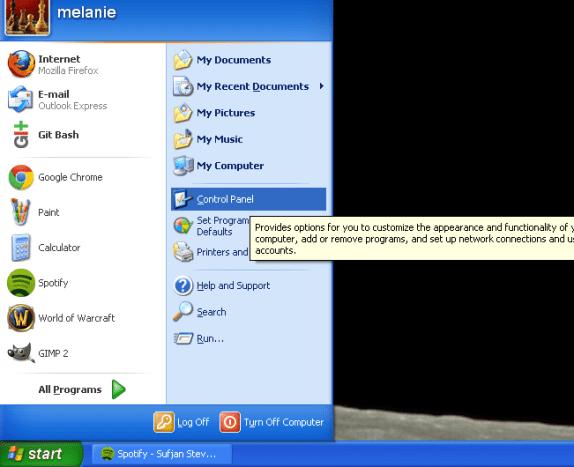 "Click ""Control Panel"" in the Start menu"