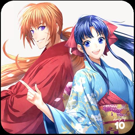Kenshin and Kaoru smiling