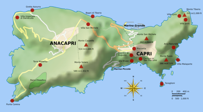 A clickable map of the Isle of Capri