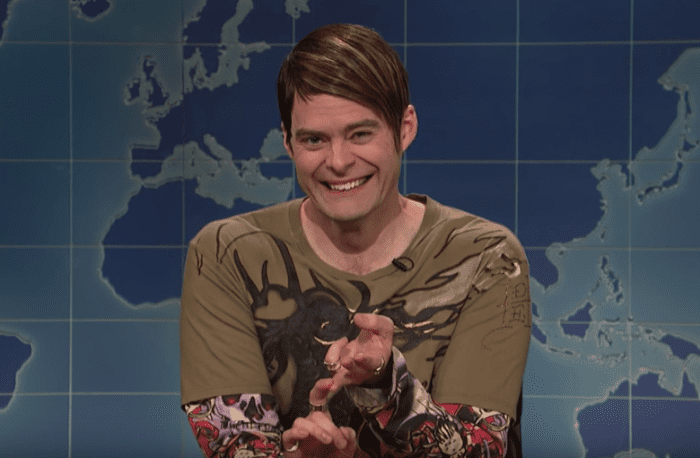 Bill Hader as his Weekend Update character, Stefon.