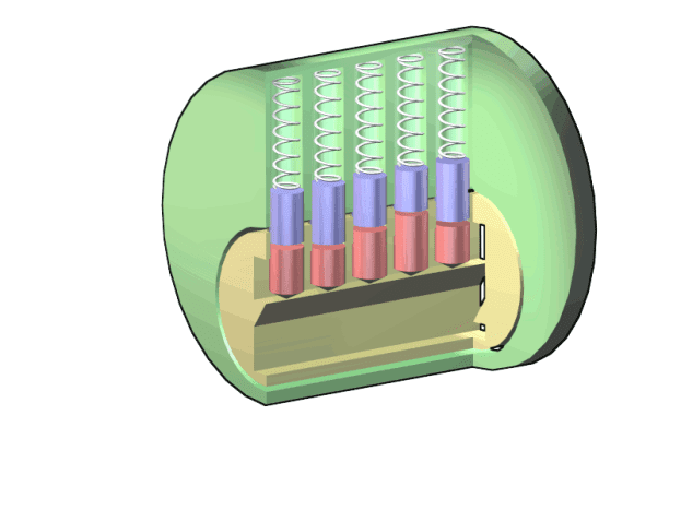 The cylinder of a lock at rest cannot rotate because the blue part of these pins is clearly blocking any angular motion.