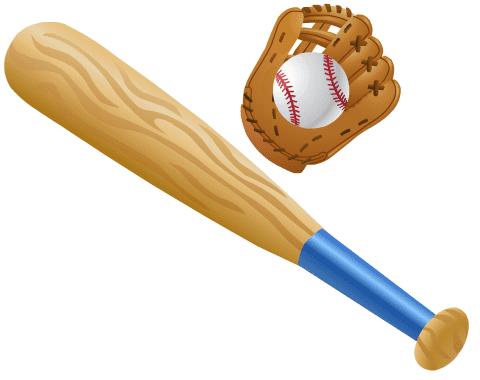 Free baseball bat clip art: Bat, baseball glove and ball