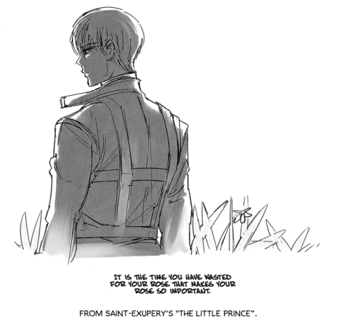 """Ishida's drawing of Arima with a quote from """"The Little Prince""""."""