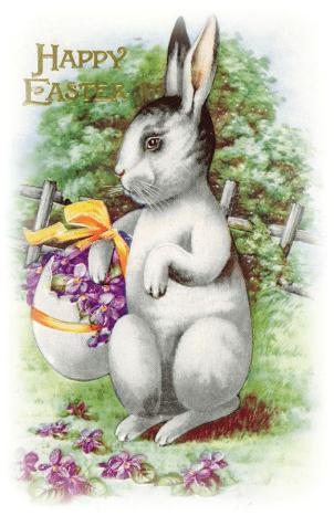 Free vintage Easter images: Easter bunny with an egg basket filled with violets