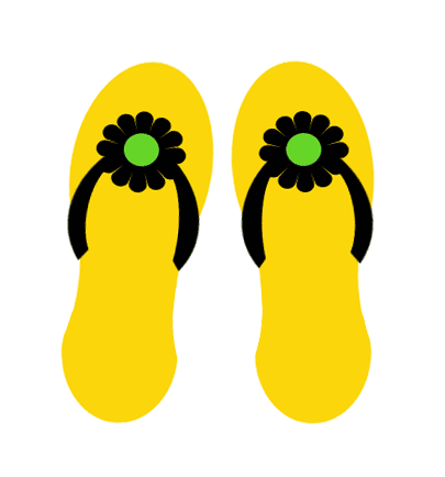 Yellow flip flops summer clip art.