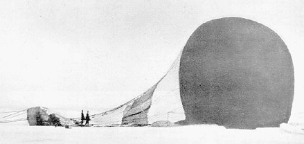 """The """"Eagle"""" crashed.  Though the camera weighed about 15 pounds, Strindberg documented the Expedition's life on the ice with over 200 photos, more than 90 of which survived intact."""