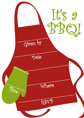 Free BBQ party invitation: barbecue apron with oven mit