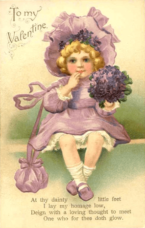 Cute kids: Little girl in purple on a vintage Valentine card