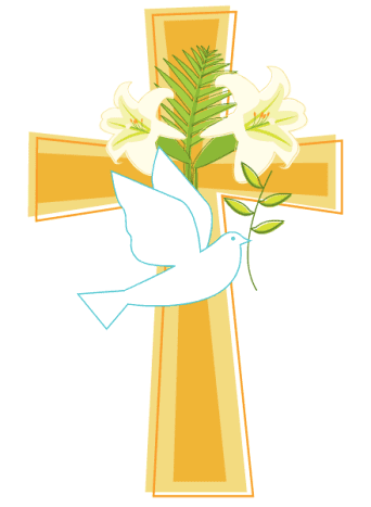Cross, Easter lilies and Holy Spirit dove Easter clip art