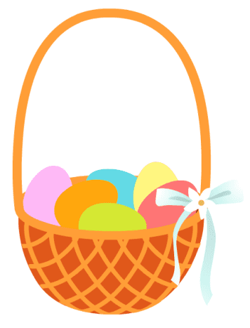 Easter basket with colored eggs