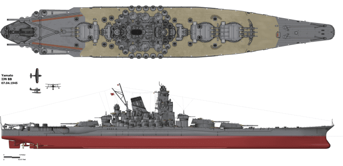 The 72,800 ton  Super Battleship Yamato one the largest battleships ever put to sea armed with nine 18inch main guns.