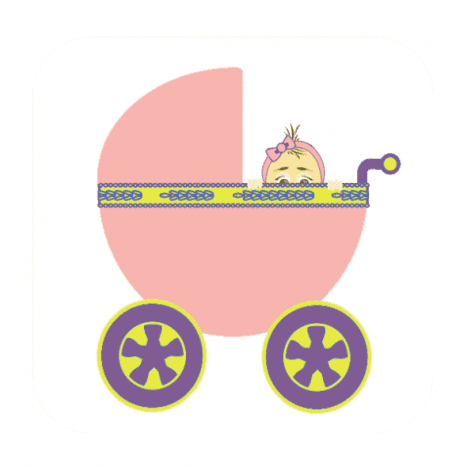 Image of a baby girl peaking out of a pink carriage.