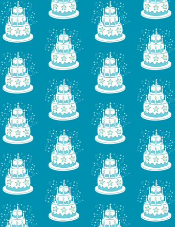 Whimsical birthday cake scrapbook paper design: teal background