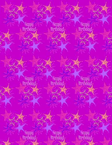 """Starburst and """"Happy Birthday"""" scrapbook paper design -- purple background"""