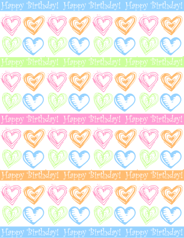 """Large hearts and stripes """"Happy Birthday"""" scrapbook paper design -- white background"""
