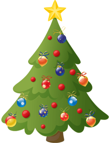 Christmas tree with shiny ornaments.