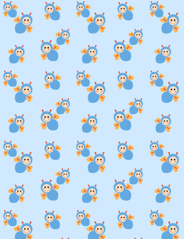 Baby scrapbook paper: blue with buzzing bees -- medium size