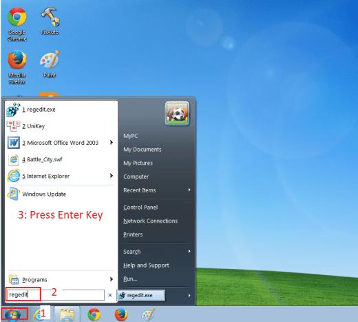 Open registry Windows