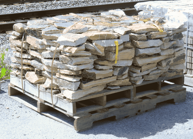 a. Asymmetrical stones on a pallet.