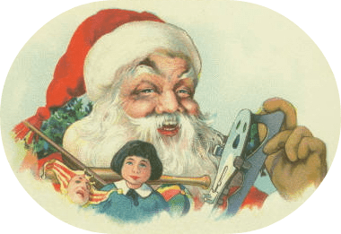 Santa Claus and toys Christmas clipart graphics