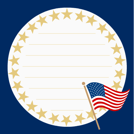 Military images: Scrapbook journaling card with gold stars and American flag