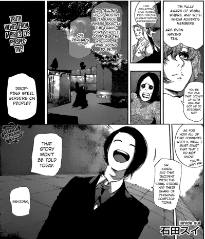 Eto stating that Furuta was the one who dropped steel girders on Rize.