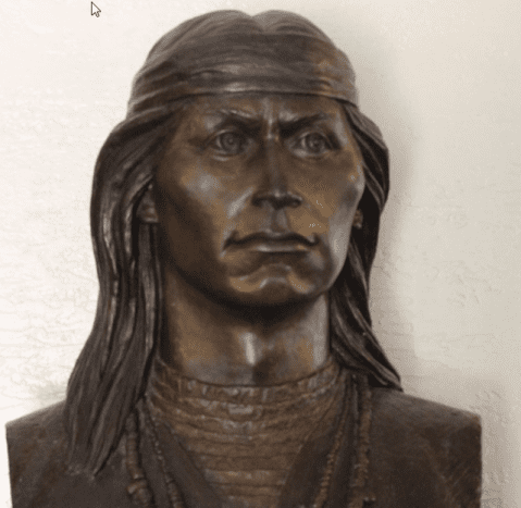 A sculpture by Bette Butts.There are no known photos of Cochise, chief of the Chiricahua Apache. This rendering is based on what is known of his son who looked like him.