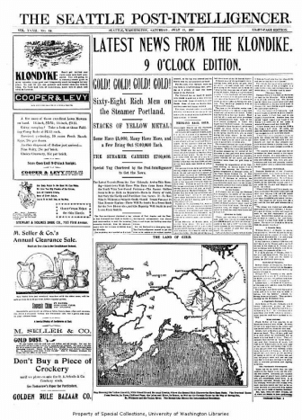 Seattle newspaper announcing the arrival of gold from Klondike, July 17, 1897