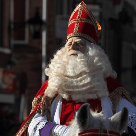 Sinterklass arrives in Schiedam, Netherlands, as part of a 2009 St. Nicholas Day celebration.