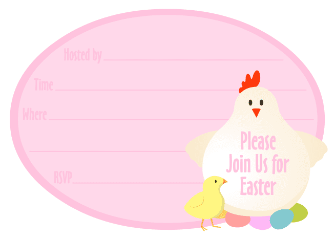 Free Easter party invitation: Chicken and chick with Easter eggs