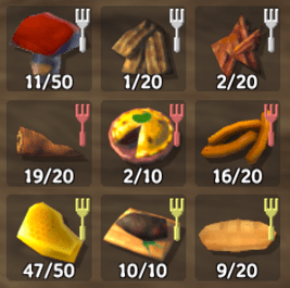 Balanced foods feature a white fork icon, while health dominant is red, and stamina dominant is yellow.