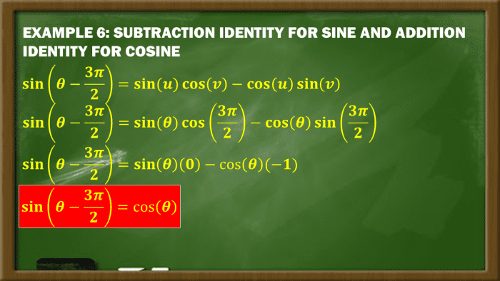 Example 6: Subtraction Identity for Sine and Addition Identity for Cosine