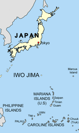 Iwo Jima is a volcanic island about 650 miles south of Tokyo.