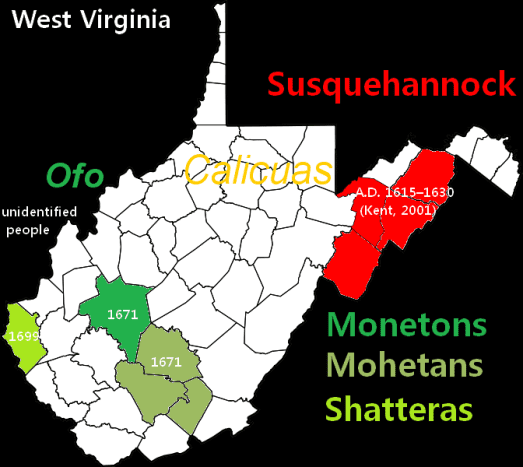 Historic locations of native populations in West Virginia.