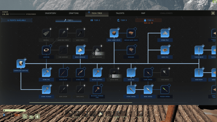 This is part of the tech tree for tier 1 which is available at the start of the game. However only character crafting, stone axe, and stone pickaxe are known on a fresh character. All other nodes must be unlocked be leveling.