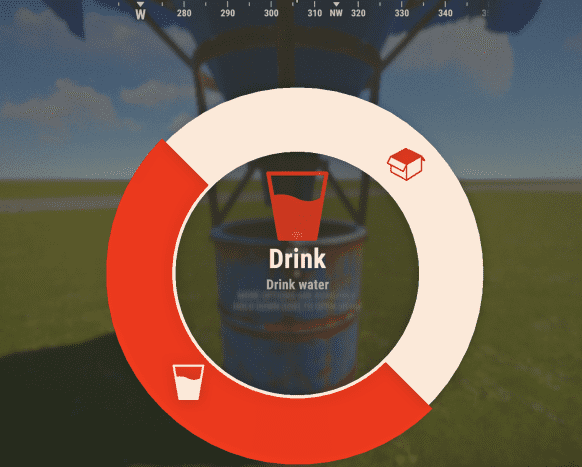 You can drink directly from a water catcher by long pressing the action button and selecting drink. You can also open the water catcher and click the cup icon to drink.