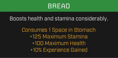 Bread actually increases your experience gains!