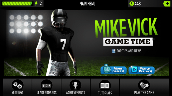 """Mike Vick's Game Time"" main screen."