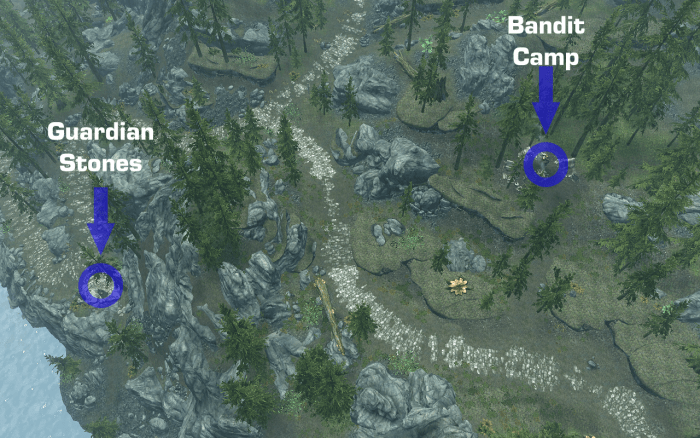 An aerial view of the Guardian Stones to the left and the Bandit Camp Ilinalta Foothills to the right, showing the path to take.