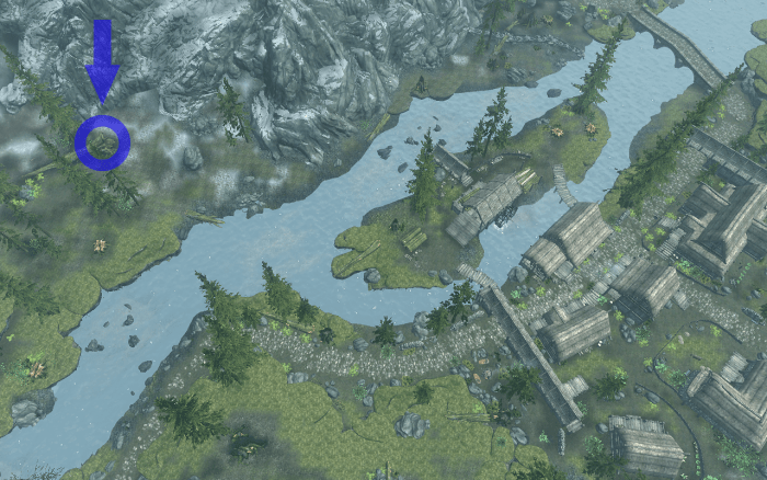 Showing the chest location across the river from Riverwood as seen from the air.