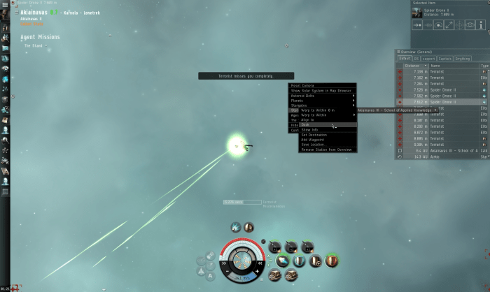 Overwhelming fire, webification and target lock jamming means no chance of fighting back, at least not on your own.