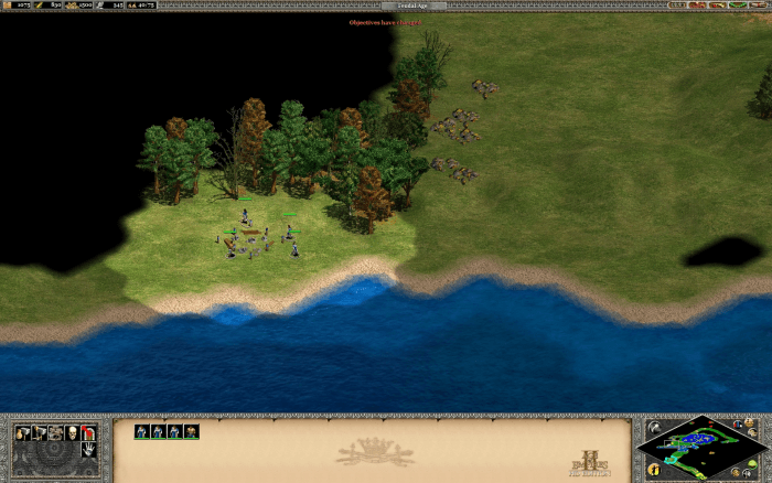 The gold deposit to the west, out of range of the enemy outpost with a nice spot for lumber harvesting right next to it. The way the land pinches here due to the water and tree line makes it relatively safe.