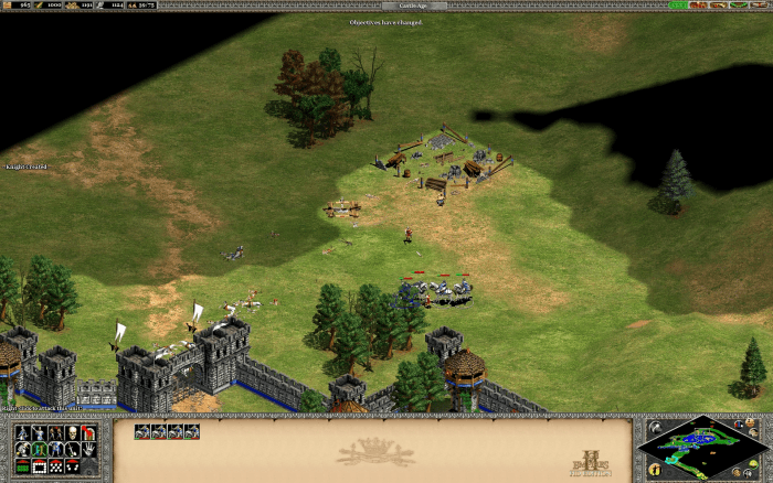 Building the first castle, trying to desperately defend the villagers with heavily wounded soldiers.