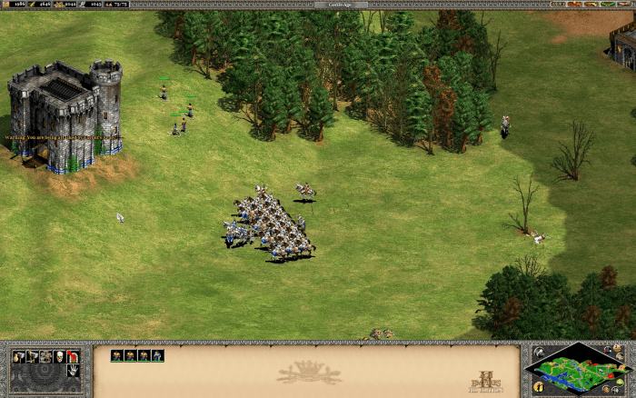 Building the first castle to establish a forward base and drawing the enemy units into their range.
