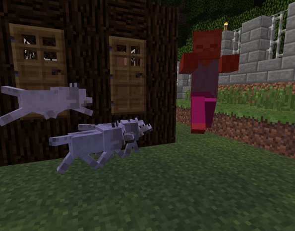 Tamed wolves will attack zombies for you if you attack the zombie at least once.